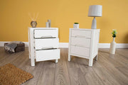 White 2+1 Drawer Bedside Table - Style 1 - The Oak Bed Store