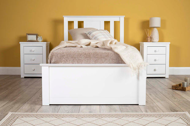 Chester White Ottoman Storage Bed Frame - 3ft Single - The Oak Bed Store