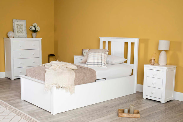 Chester Bright White Ottoman Storage Bed Frame - 3ft Single - The Oak Bed Store