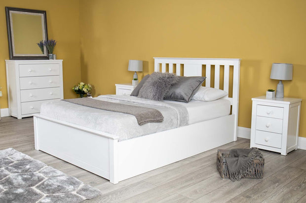 Chester Bright White Ottoman Storage Bed Frame - 5ft King Size - The Oak Bed Store