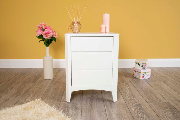 White 2+1 Drawer Bedside Table - Style 2 - The Oak Bed Store