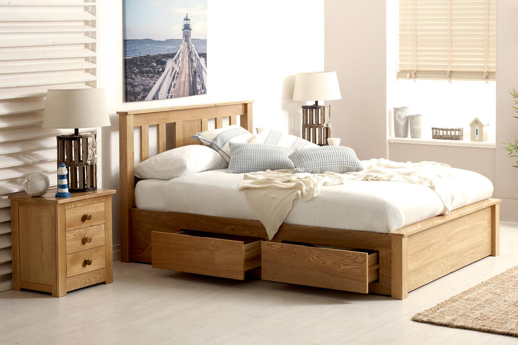 Picture of: Wimbledon Solid Natural Oak Storage Bed 5ft King Size The Oak Bed Store