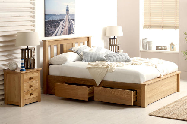 Wimbledon Solid Oak Storage Bed 5ft - King Size - The Oak Bed Store