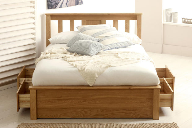 Wimbledon Solid Natural Oak Storage Bed Frame 5ft - King Size - The Oak Bed Store