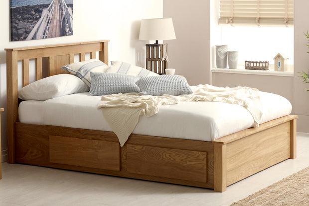 Wimbledon Solid Natural Oak Storage Bed 4ft6 - Double - The Oak Bed Store
