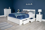 Wimbledon White Solid Wood Storage Bed 4ft6 - Double - The Oak Bed Store