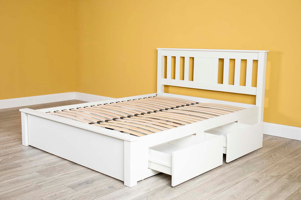 Wimbledon White Solid Wood Storage Bed 5ft - King Size - The Oak Bed Store