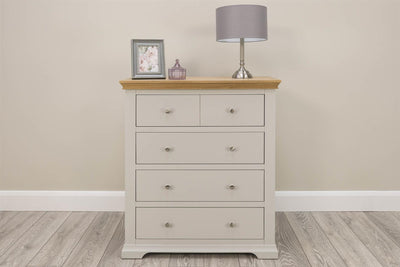 Westcott Light Grey & Natural Oak 4 Drawer Chest of Drawers - The Oak Bed Store
