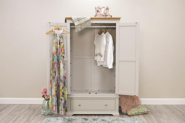Westcott Light Grey & Oak 1 Drawer Double Wardrobe - The Oak Bed Store