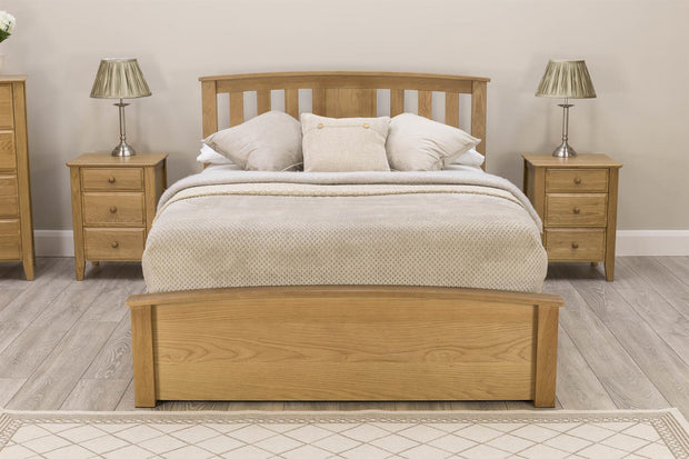 Royal Ascot Solid Oak Storage Bed Frame - 4ft6 Double - The Oak Bed Store