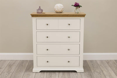Westcott Soft White & Natural Oak 4 Drawer Chest of Drawers - The Oak Bed Store
