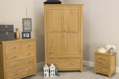 Boston Solid Oak 1 Drawer Double Wardrobe - The Oak Bed Store