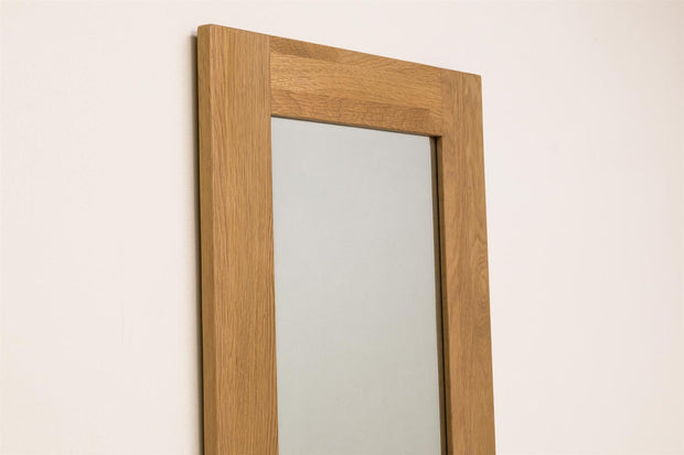Solid Oak Wall Hung Mirror (48.5cm x 140cm) - The Oak Bed Store