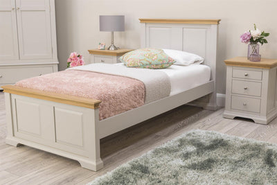 Westcott Light Grey & Oak Solid Wood Bed Frame - 3ft Single - The Oak Bed Store