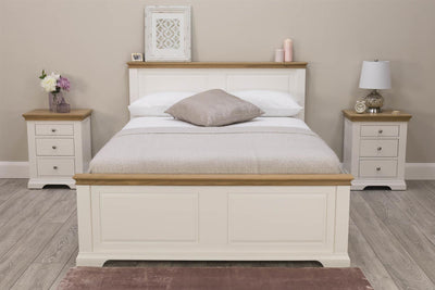 Westcott Soft White & Natural Oak Solid Wood Bed Frame - 5ft King Size - The Oak Bed Store