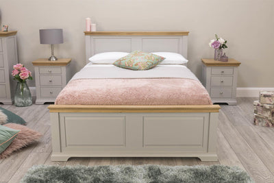 Westcott Light Grey & Oak Solid Wood Bed Frame - 4ft6 Double - The Oak Bed Store