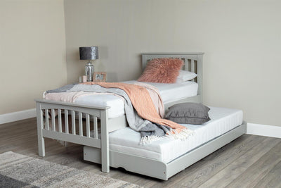 Stanstead Light Grey Solid Wood Guest Bed - 3ft Single - The Oak Bed Store
