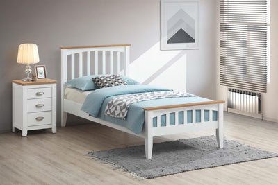 Milan White & Oak Wooden Bed Frame - 3ft Single - The Oak Bed Store