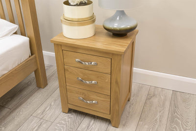 Boston Solid Oak 2+1 Drawer Bedside Table - The Oak Bed Store