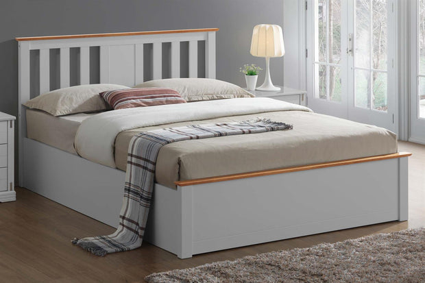 Chester Light Grey & Oak Ottoman Storage Bed Frame - 6ft Super King - The Oak Bed Store