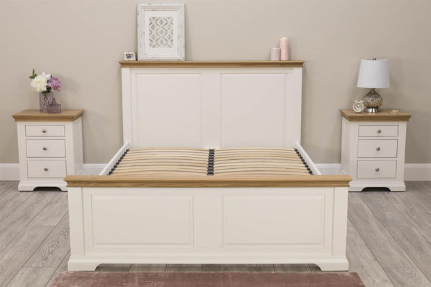 Westcott Soft White & Natural Oak Solid Wood Bed Frame - 4ft6 Double - The Oak Bed Store