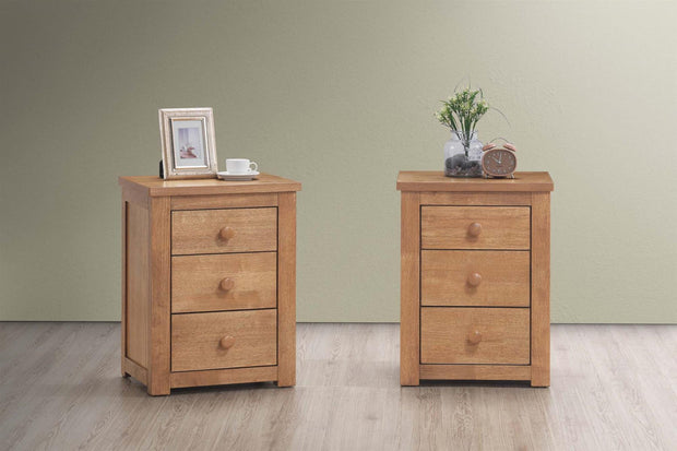 Chester Medium Oak 2+1 Bedside Table - The Oak Bed Store