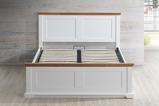 Chilgrove White & Oak Ottoman Storage Bed Frame - 6ft Super King - The Oak Bed Store