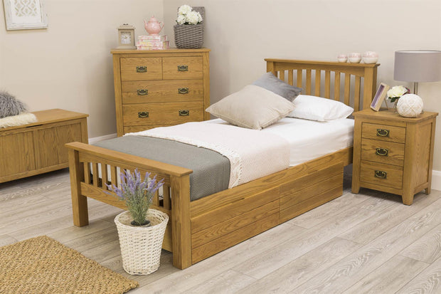 Boston Rustic Solid Oak Bed Frame - 3ft Single - The Oak Bed Store