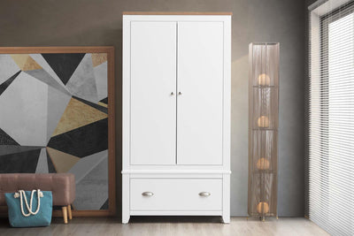 Milan White & Oak 1 Drawer Double Wardrobe - The Oak Bed Store