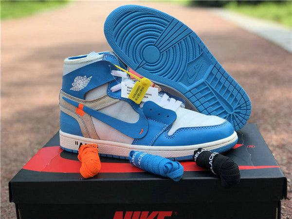 Authentic Off White Air Jordan 1 Custom Made UNC KIDS New