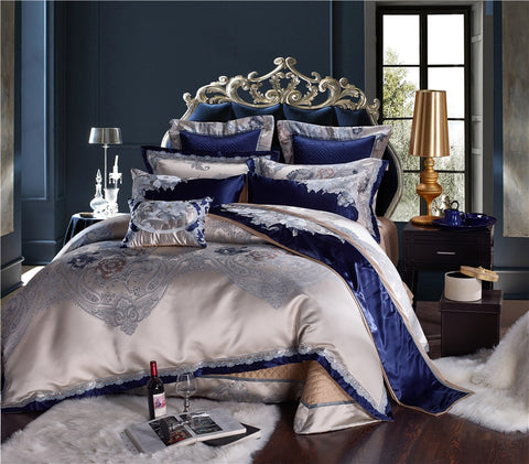 Luxury Cotton Satin Jacquard Blue Silver Bedding Set Bed Sheet/Spread Set Duvet Covers