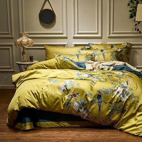 Silky Egyptian Cotton Yellow Chinoiserie style Birds Flowers Duvet Cover Bedsheet