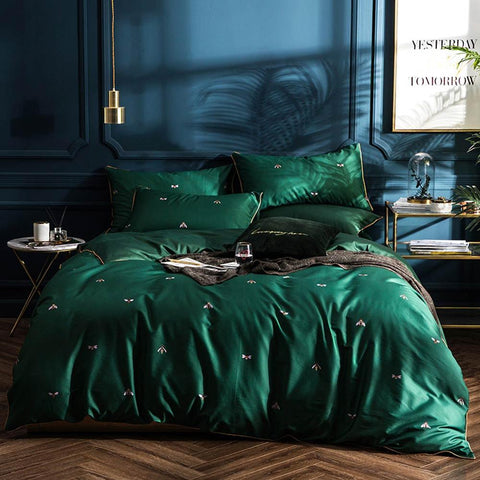 Luxury Green Bedding with Bees Egyptian Cotton Duvet Cover Set Queen Size
