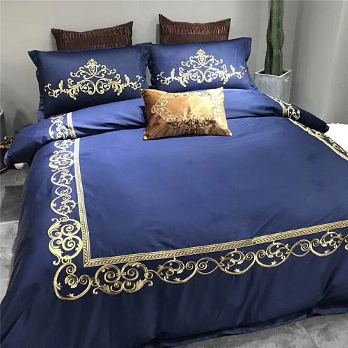 White Modern Style Red Rose Embroidery Bedding Set