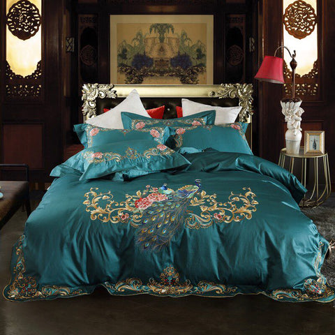 Chic Embroidery Peacock Floral Duvet Cover Egyptian Cotton Dark Green