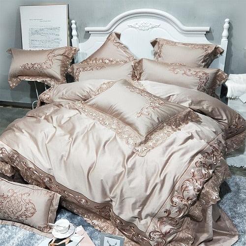 Golden Pink 100S Egyptian Cotton Luxury Royal Bedding Set King Queen Size