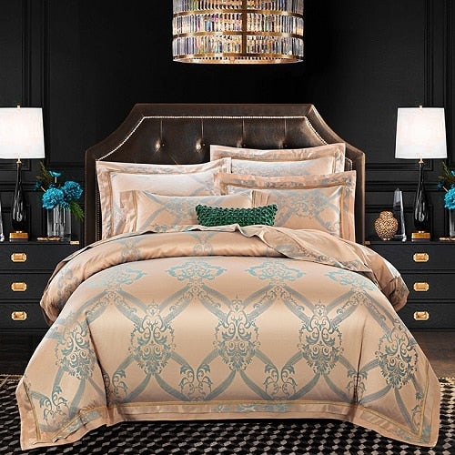 2019 New Luxury Silk Jacquard Duvet Bedding Set Ultra Soft Cotton Bedsheet Linen