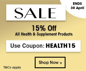 Sale - 15% off all Health and Supplements.