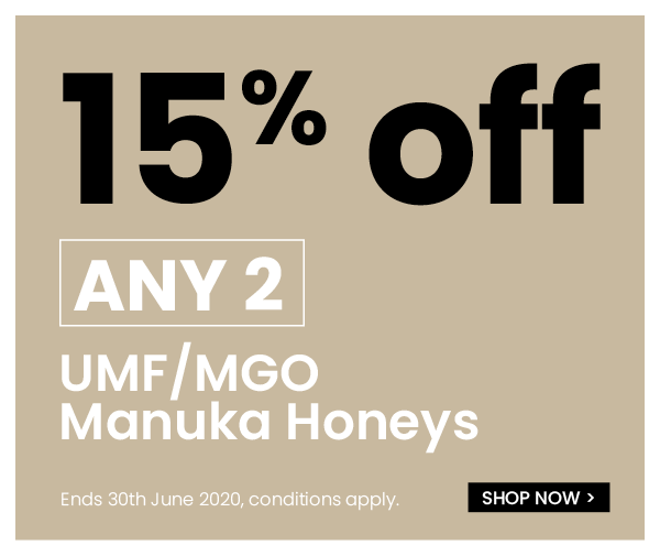 15% off when you buy 2x UMF / MGO Manuka Honeys