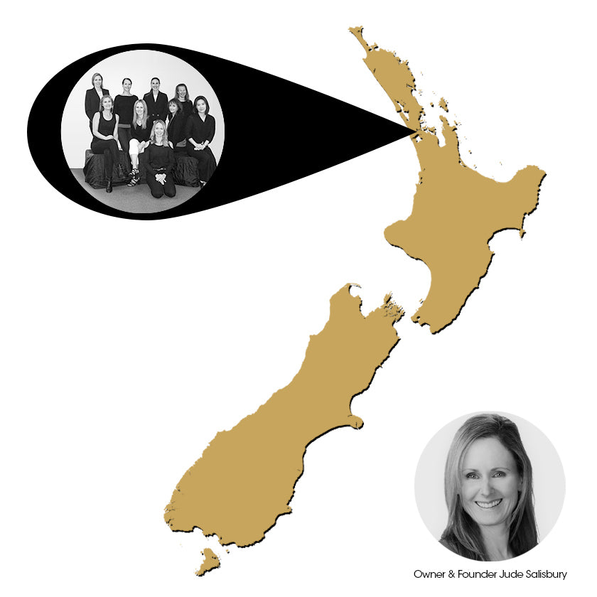 New Zealand map with locator of the Manuka Honey of New Zealand office. Inserted images of the team and owner and founder Jude Salisbury