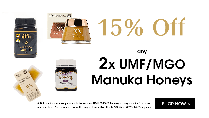 Save 15% off when buying 2 or more UMF/MGO honeys