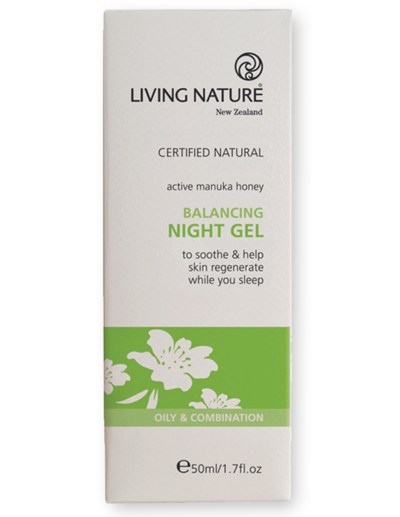 Natural balancing night gel, moisturiser with manuka for acne-prone and oily skin