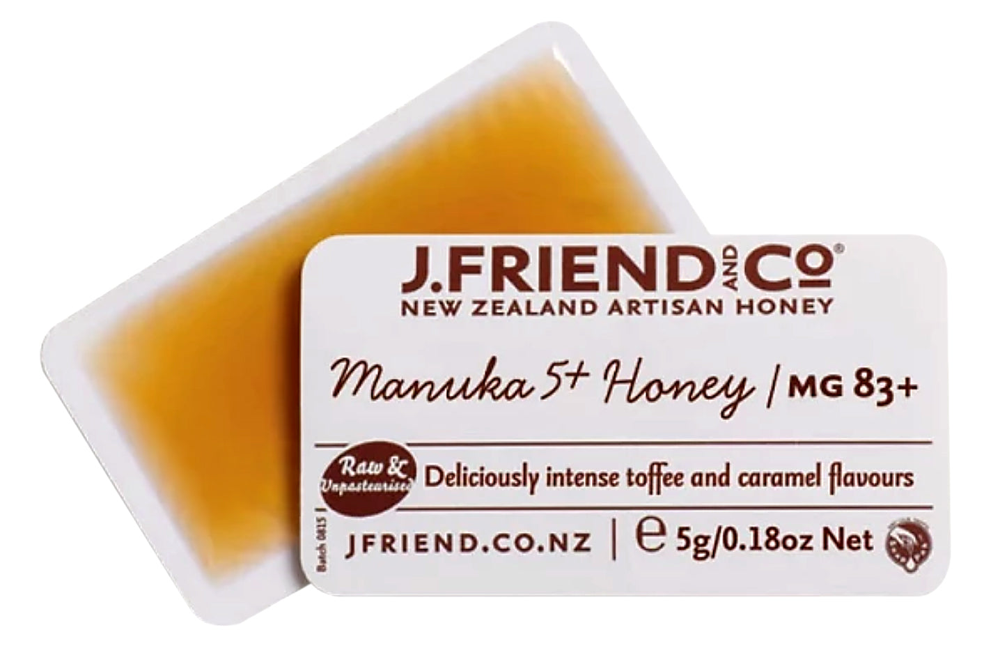 J Friend and Co- Raw and Unpasteurised Manuka 5+ / MG 83+ Honey 5g, single snap, Deliciously intense toffee and caramel flavours