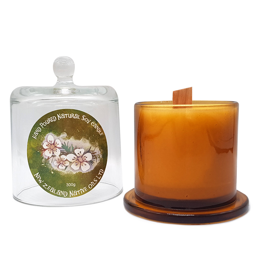 Hand Poured Manuka Honey + Soy Candle - with Glass Holder - Home & Living | NZ Native Oils