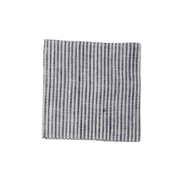 Linen Coaster -  Navy & White Seersucker