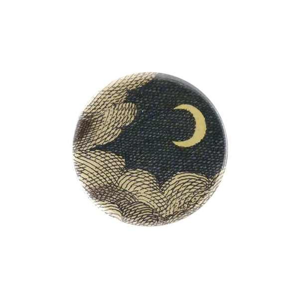 Clouds & Crescent Moon Mirror Button