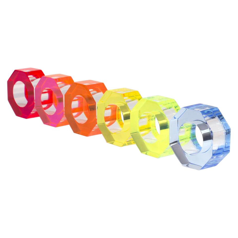Acrylic Napkin Rings - Multi-Colored Neon