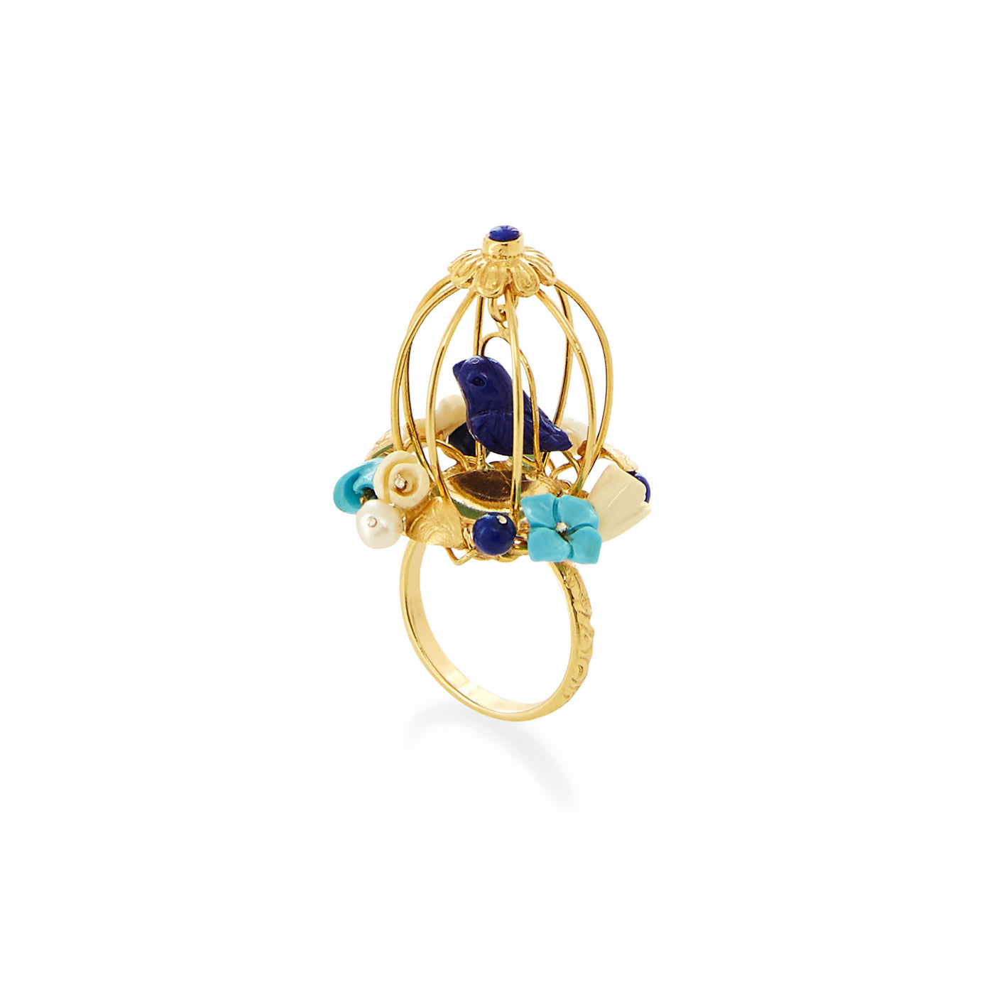 Lapis & Turquoise Aviary ring