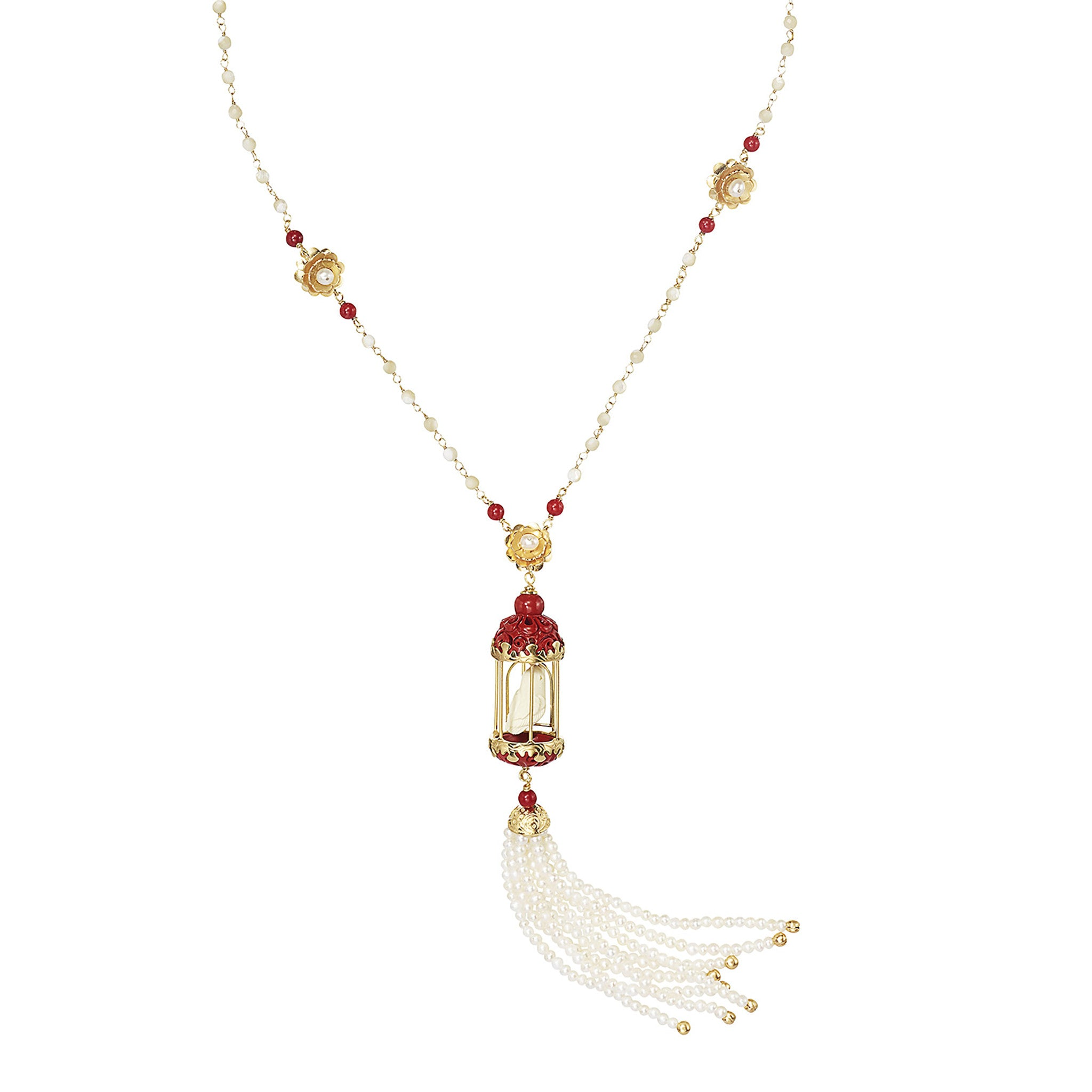 Coral Aviary Tassel Necklace
