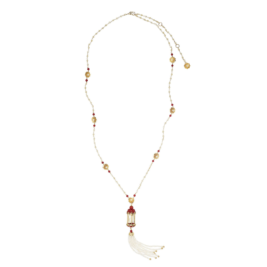 Aviary Classic Tassel Necklace - Coral & Moonstone